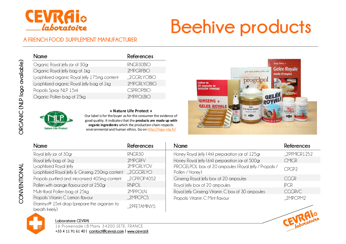 Brochure - Beehive Products - Laboratoire CEVRAI - EN