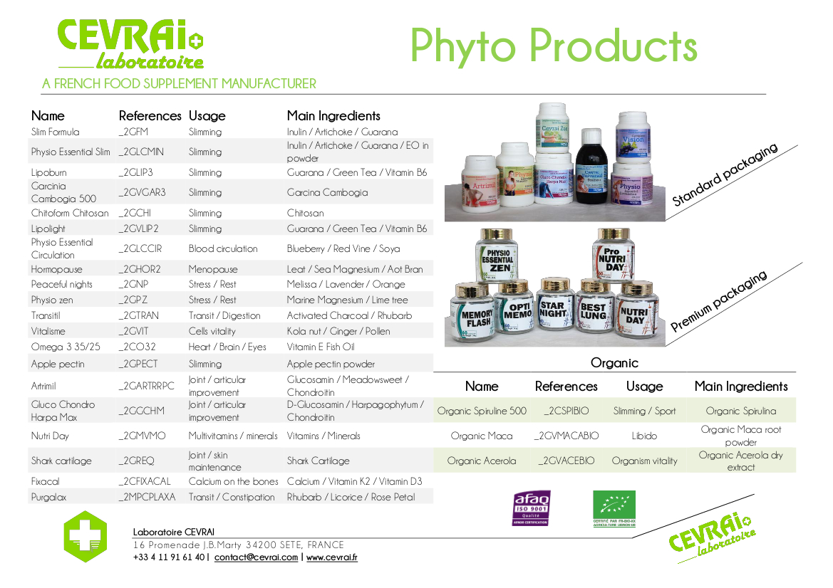 Brochure - Phyto Products - Laboratoire CEVRAI - EN