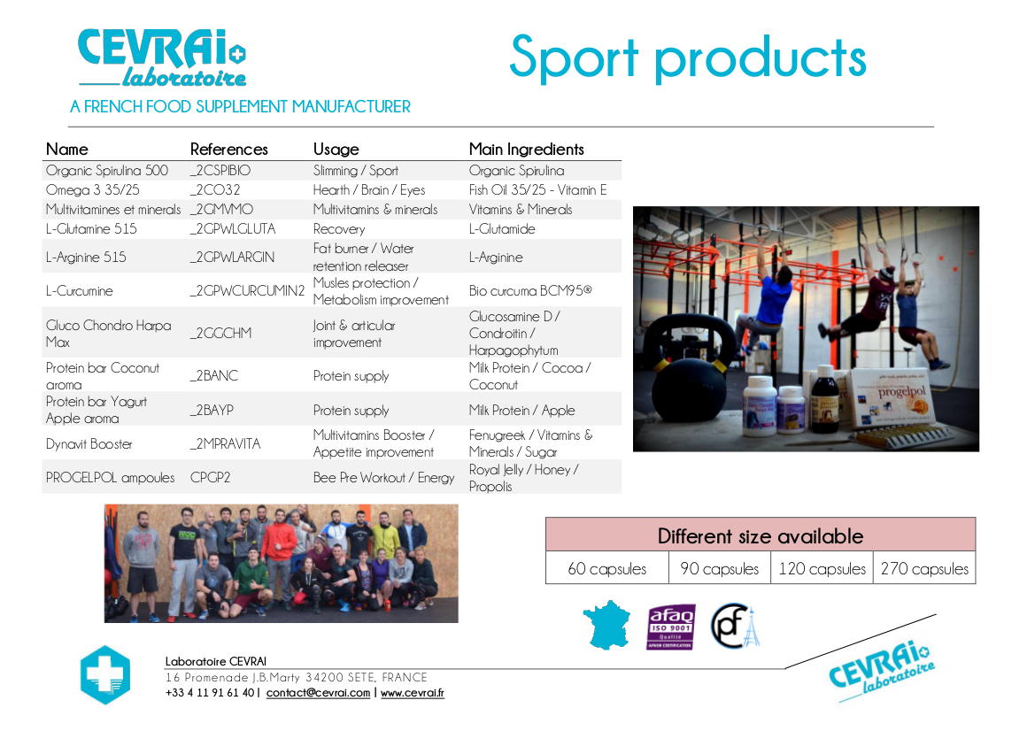 Brochure - Sport Products - Laboratoire CEVRAI - EN
