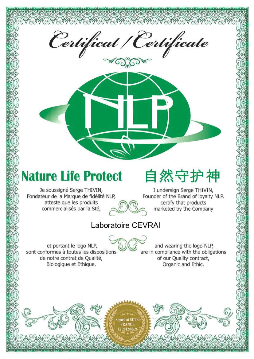 Certificat NLP Nature Life Protect - Laboratoire CEVRAI