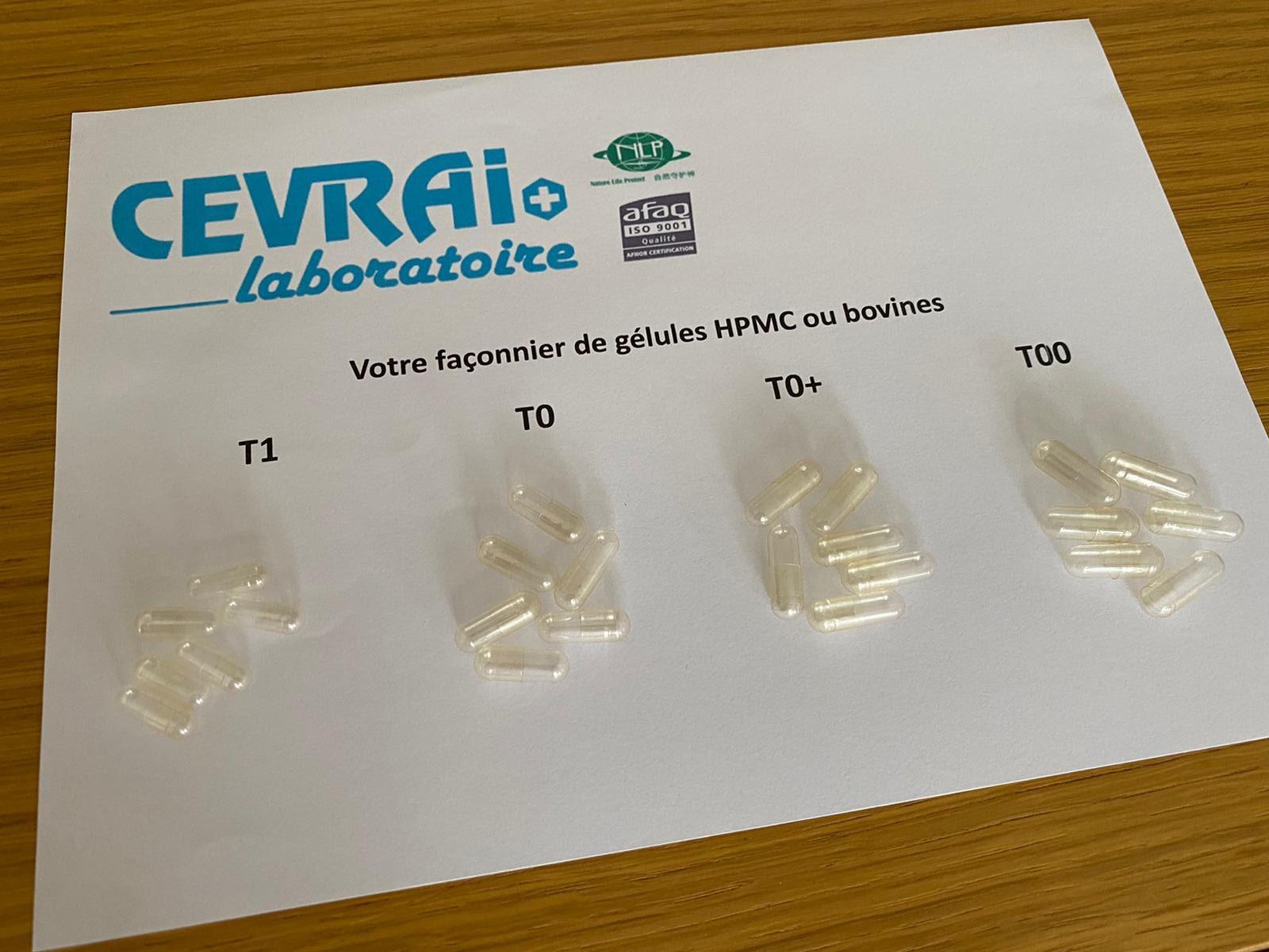 Laboratoire CEVRAI fabrication façonnage gélules blister pilulier doypack HPMC bovine